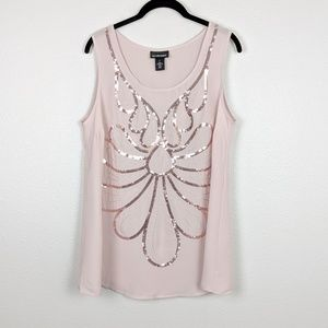 Lane Bryant Sequin Flower Tank Size 14